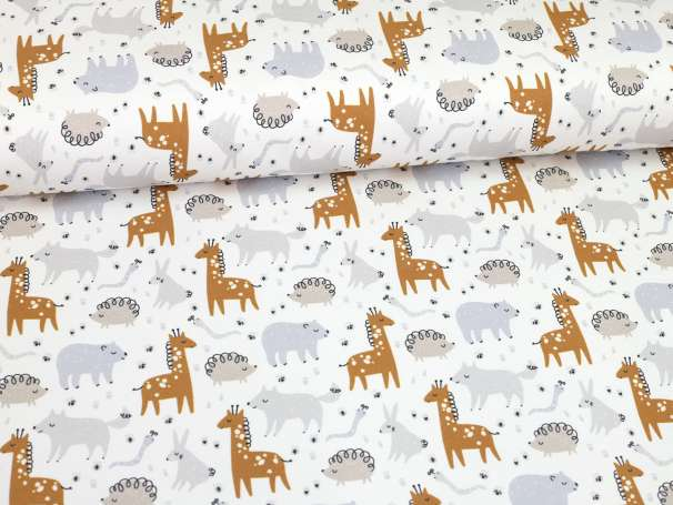 French Terry - Kleine Wildtiere - Giraffe, Igel & Co.