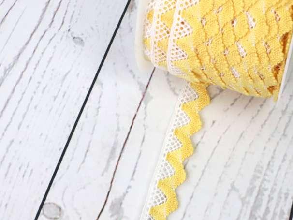Spitze zweifarbig - 20mm - weiß/gelb