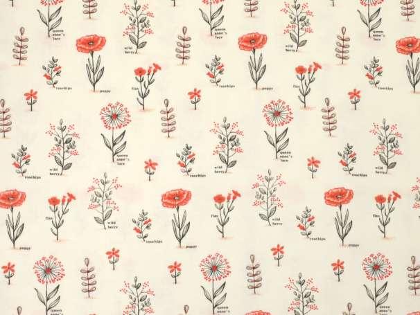 Baumwolle Stoff - Le Pavot - Floral Botanical