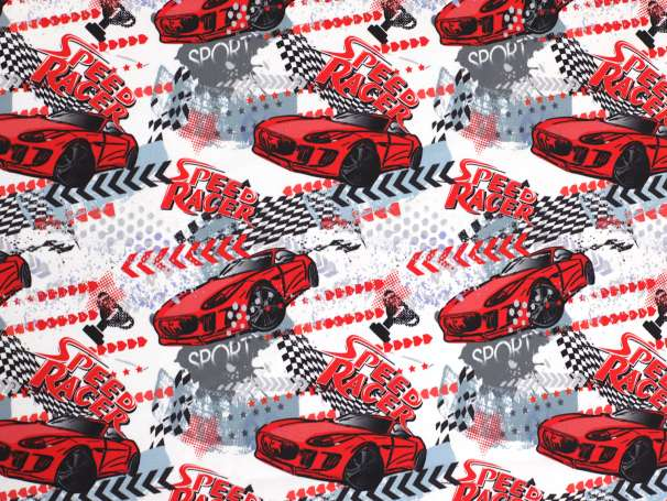 Jersey Stoff - Speed Racer Rennautos - rot