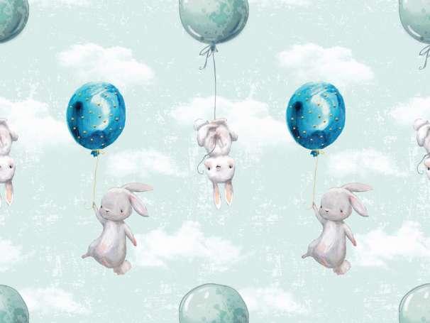Jersey Stoff - Luftballon & Hasen - mint