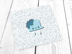 Jersey Stoff - Regenwolke RAINY DAY, blau - PANEL