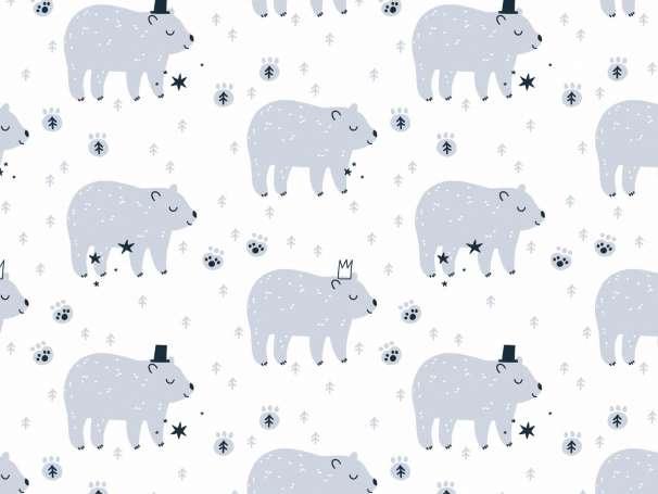 French Terry - Kleine Wildtiere - Bär blau/weiß