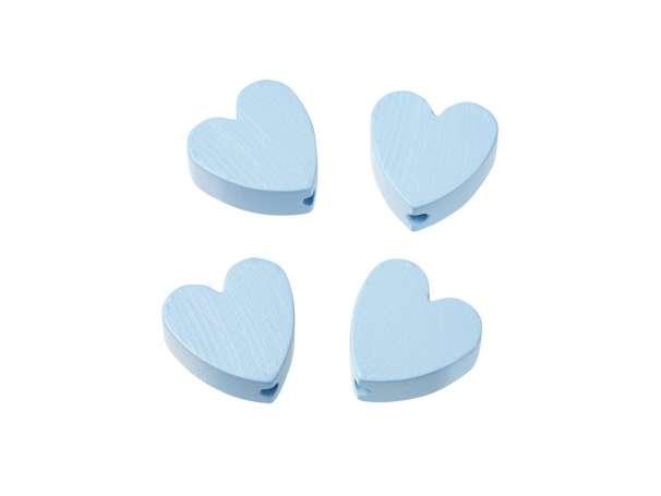 Schnulli-Herz-Perlen - 4 Stück - hellblau