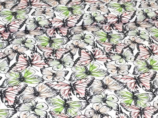 French Terry - Schmetterlinge - grün / koralle