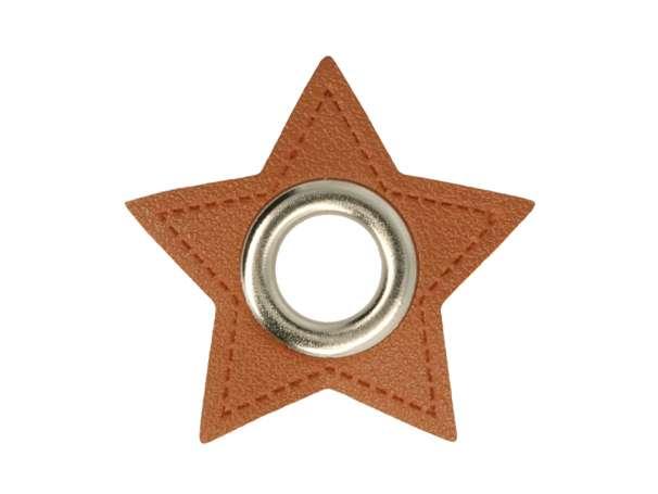 1 Kunstleder-Stern mit Öse - 11 mm - braun/silber