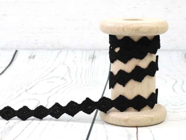 Spitze - Karos - schwarz glänzend