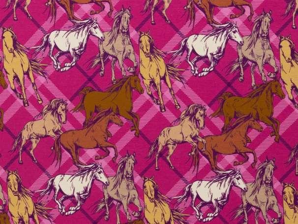 Jersey Stoff - Theo - Pferde, pink