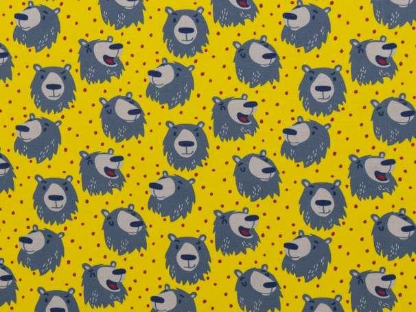 Jersey Stoff - Furry Faces - Bär, gelb
