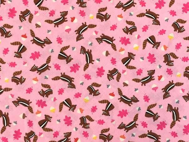 Baumwolle Stoff - Chipmunks in Pink