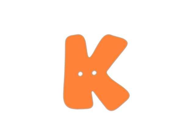 Buchstaben Knopf - orange - K