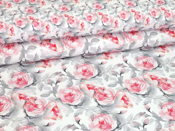 French Terry - Watercolor Roses - grau/rot - groß