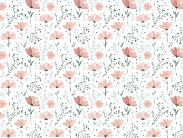 Jersey Stoff - Sommerblümchen, orangerot