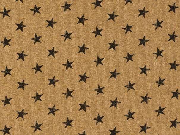 French Terry - Kleine Sterne - ocker,schwarz