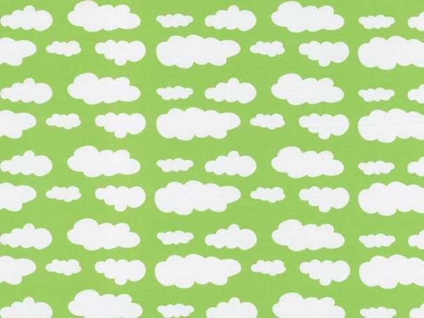 Jersey Stoff - Wolken - hellgrün