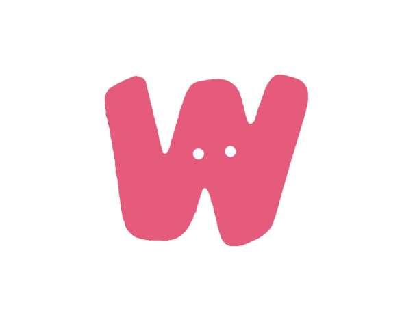 Buchstaben Knopf - pink - W
