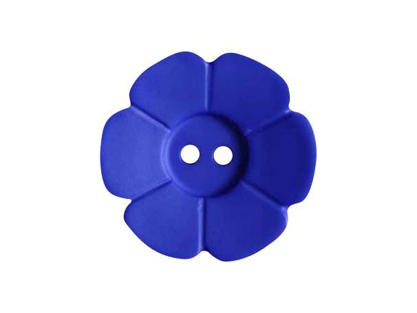 Knopf Blümchen 15mm - royalblau