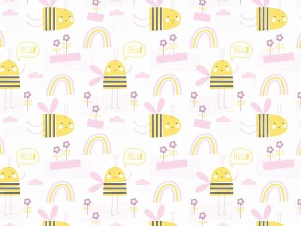 Jersey Stoff - Bee Happy - rosa