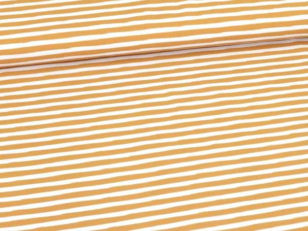 Jersey Stoff - Im Wald Kombi-Streifen - ocker