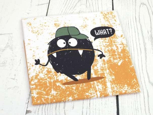 Jersey Stoff - Monster PANEL - Grunge senf