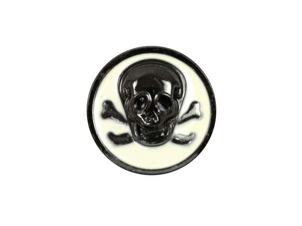 Knopf mit Öse - 23mm - Totenkopf - schwarz/cremeweiß