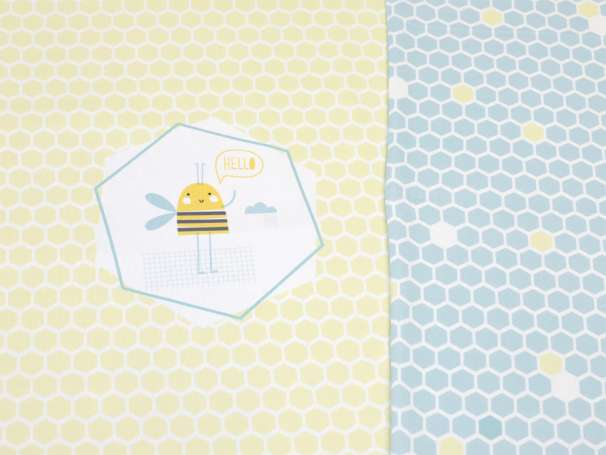 Jersey Stoff - PANEL - Bee Happy - dunkles mint