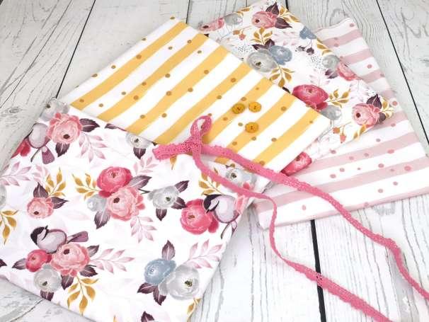 Jersey Stoff - Sprinkle Stripes - rosé & Kombistoffe