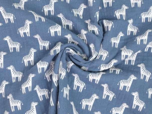 Musselin - Zebra - jeansblau
