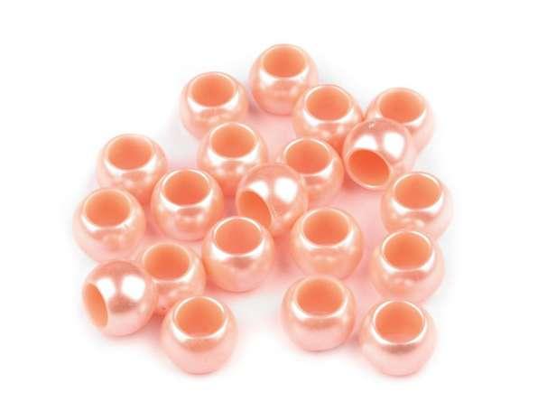 12 Kordel-Perlen - 7x10 mm - perlmutt lachs