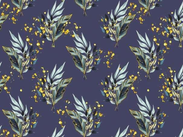Jersey Stoff - Golden Leaves - dunkelblau