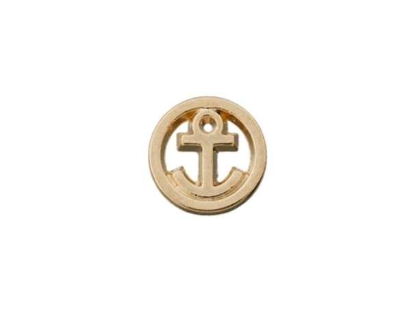 Knopf mit Öse Metall - 10mm - Kleiner Anker im Kreis - gold