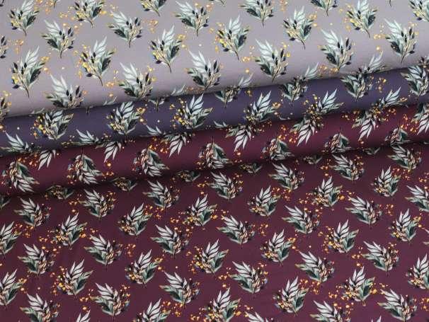 Jersey Stoff - Golden Leaves - verschiedene Farben