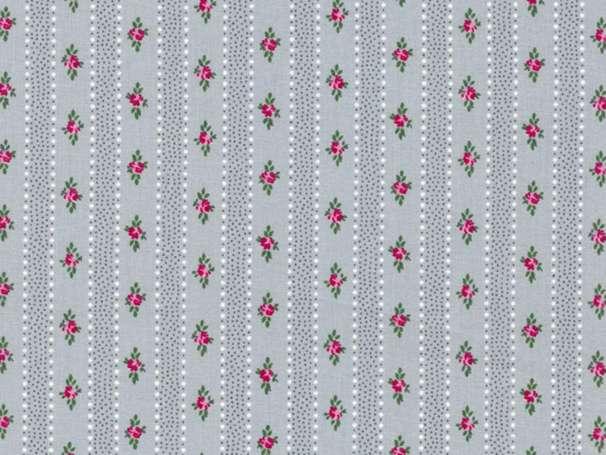 Westfalenstoffe kbA - PRINZESSIN - Blümchen Streifen, grau-pink