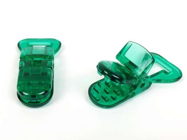 Schnullerclip grün - transparent