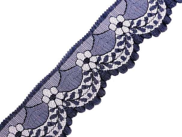 Synthetische Spitze Blumenbogen - 40mm - dunkelblau