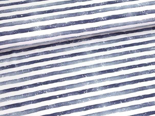 Jersey Stoff - Aquarell Streifen - dunkelblau