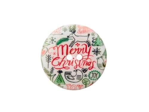 Knopf Weihnachten - 23 mm - Merry Christmas