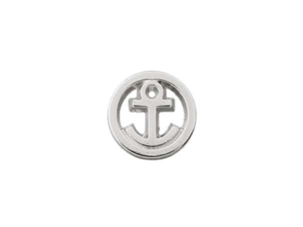 Knopf mit Öse Metall - 10mm - Kleiner Anker im Kreis - silber