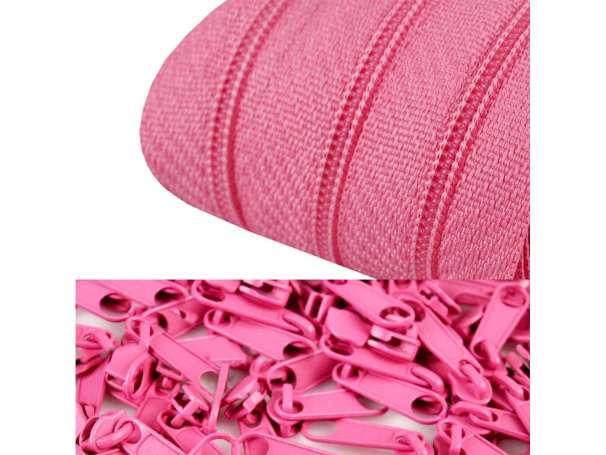 2m Endlos-Reißverschluss + 5 Zipper rosa