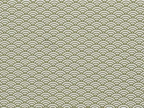 BAUMWOLLE Stoff - Muschel Design, khaki