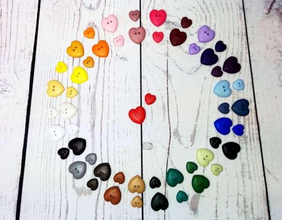 Knopf Herz - verschiedene Farben