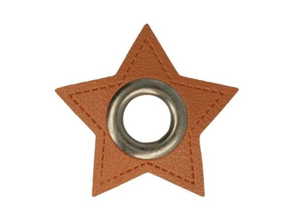 1 Kunstleder-Stern mit Öse - 11 mm - braun/anthrazit
