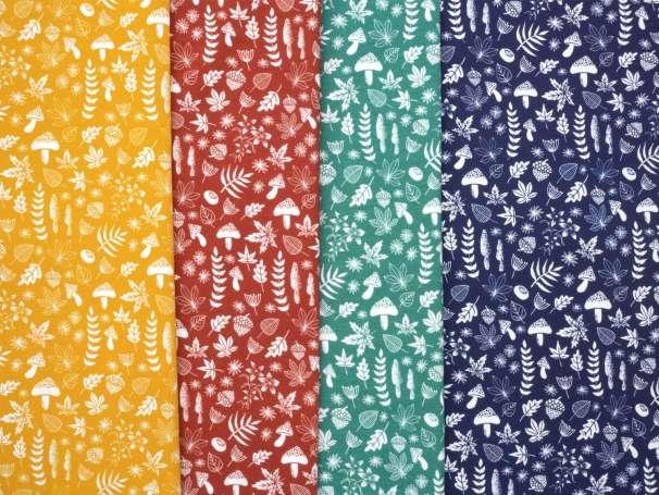 Jersey Stoff - My Little Foxy - Blätter, verschiedene Farben