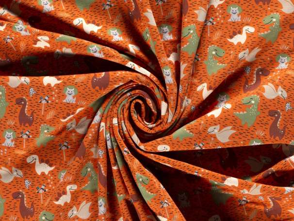 Jersey Stoff - Kleine Dinos - orange