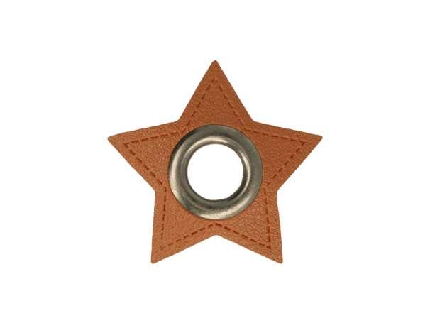 1 Kunstleder-Stern mit Öse - 8 mm - braun/anthrazit