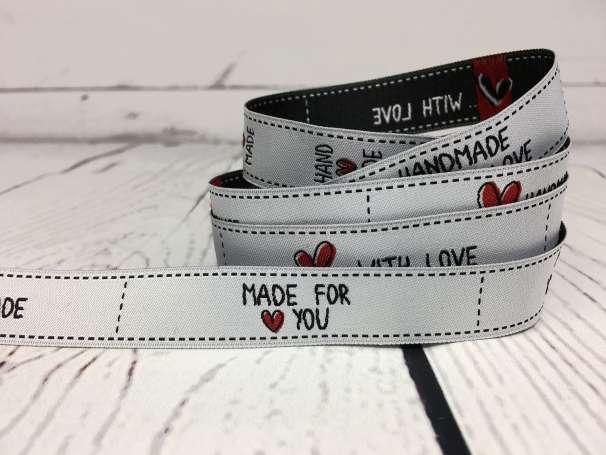 Webband hellgrau - Handmade Labels