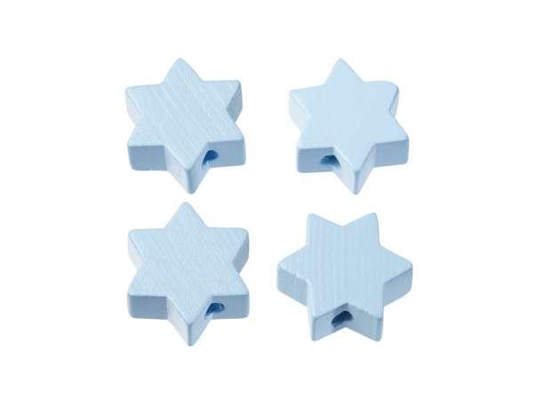 Schnulli-Stern-Perlen - 4 Stück - hellblau