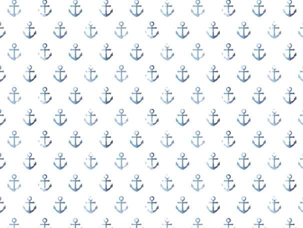 Jersey Stoff - Watercolor Anchor - blau