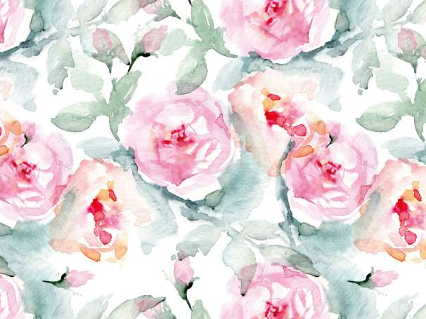 French Terry - Watercolor Roses - pink/grün - groß