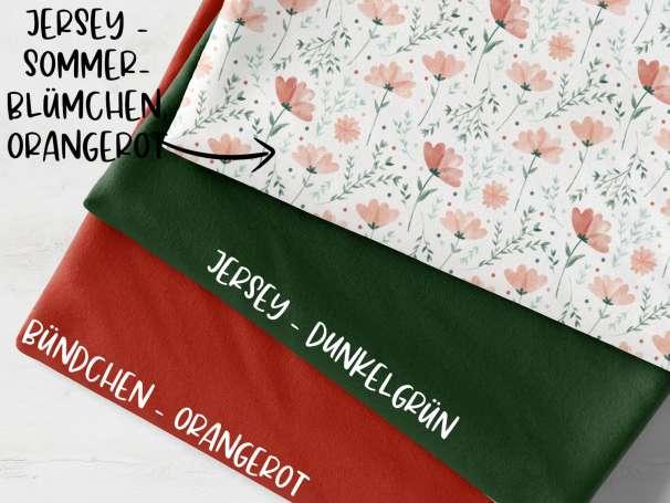 Stoffpaket - Sommerblümchen, orangerot - orangerot